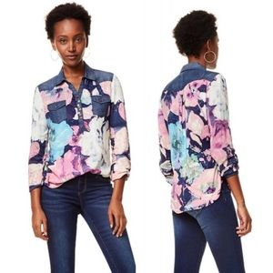 Desigual | Floral Chambray Popover Blouse